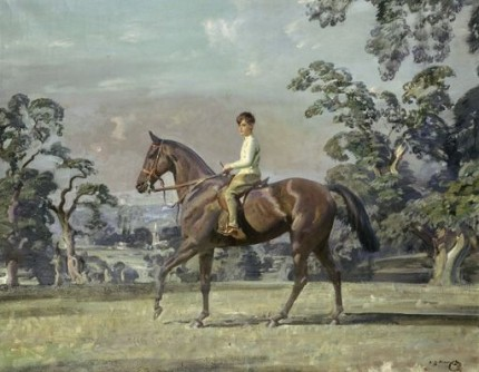 """Arturo von Schroeders on a polo pony"" Study, Oil on canvas, 29 x 36 inches, Signed lower right"