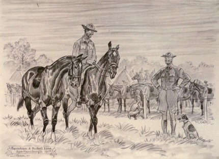 """Squadron A Picket Line, Spartansburgh 1917"" Graphite on paper, 9 x 12 ½ inches, Signed, Inscribed, Dated 1947, Lower left"