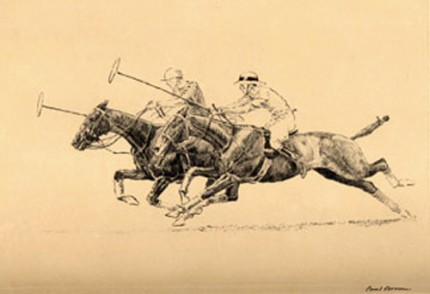 """Down The Field"" Dry point etching, 6 x 8 inches, Framed: 14 x 16 inches, Signed lower right"