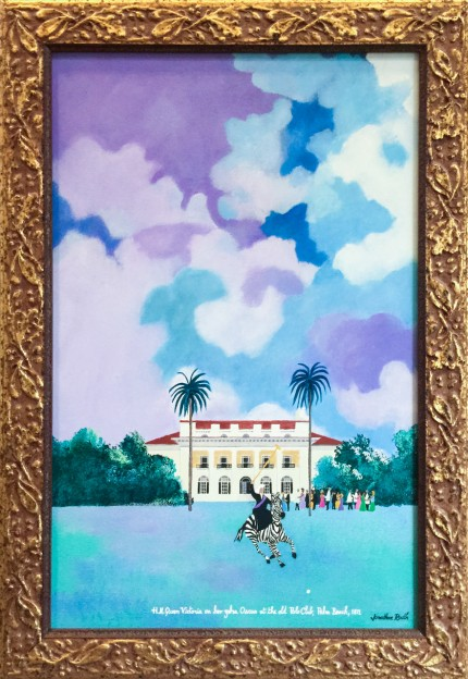 """H.M. Queen Victoria on her Zebra Oscarat the old Polo Club, Palm Beach, 1871"" Acrylic on panel, 22 x 16 inches, Signed lower right"
