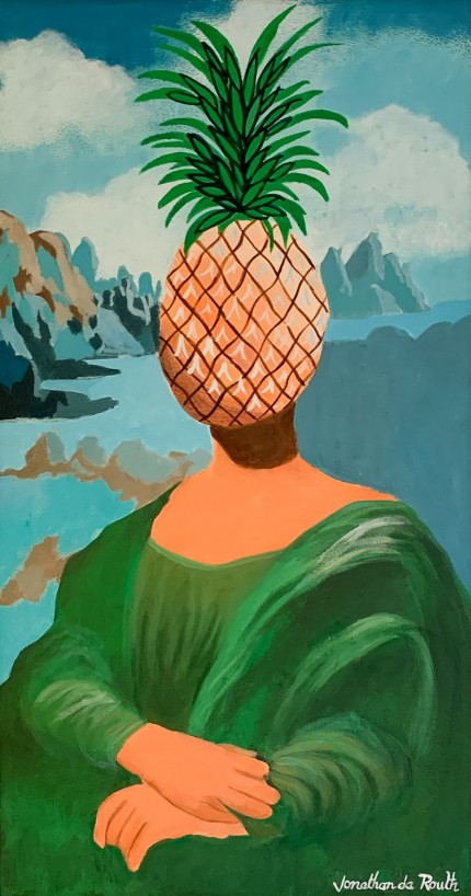 """Pineapple Head Mona Lisa"" Acrylic on panel, 26 x 14 inches, 29 x 17 inches, Signed lower right: Jonathan da Routh"