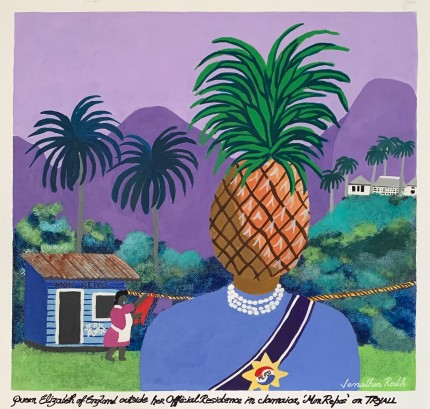 """Queen Elizabeth of England outside her Official Residence in Jamaica, 'Mon Repos' in Jamaica on Tryall"" Acrylic on panel, 22 x 22 inches, 27 x 27 inches, Signed lower right"