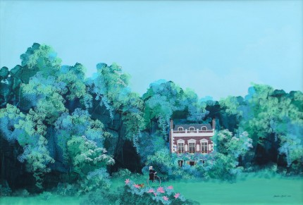 """The Plantation with Queen Victoria"" Acrylic on panel, 24 x 36 inches, 28 x 39 inches, Signed & Dated lower right"