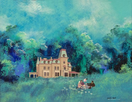 """Dejeuner sur l'herbs at Chateau-sur-Mer"" Acrylic on panel, 16 x 21 inches, Signed & Inscribed: (and a little bit of E. Manet) 
