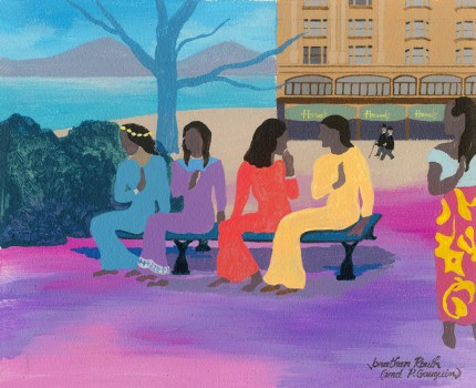 """Five Tahitian Women Awaiting The Opening of The Bibbidi Bobbidi Boutique at Harrods NEW Department Store in French Polynesia"" Acrylic on board, 9.5 x 11.5 inches, Signed & Inscribed: Jonathan Routh (und P. Gauguin) 