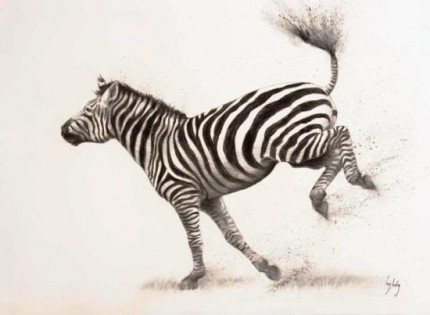 """""""Kick Up Your Heels"""" Charcoal on paper, A1, Signed"""
