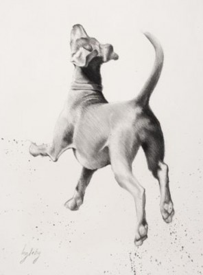 """""""Up, Up and Away"""" Charcoal on paper, A1, Signed"""