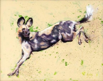 """""""African Wild Dog"""" Oil on canvas 18 x 16 inches, Signed"""