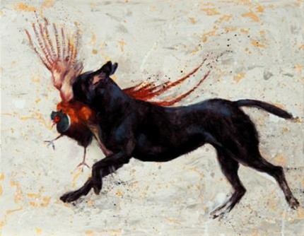 """""""Blind Retrieve"""" Oil on canvas, 14 x 18 inches, Signed"""