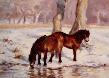 """""""Exmoor, Ponies in the Snow"""" Oil on canvas, Signed"""