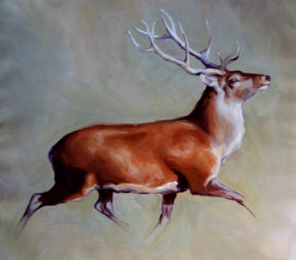 """""""Running Stag"""" Oil on canvas, Signed"""