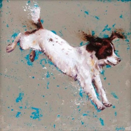 """""""Springer"""" Oil on canvas, 16 x 16 inches, Signed"""