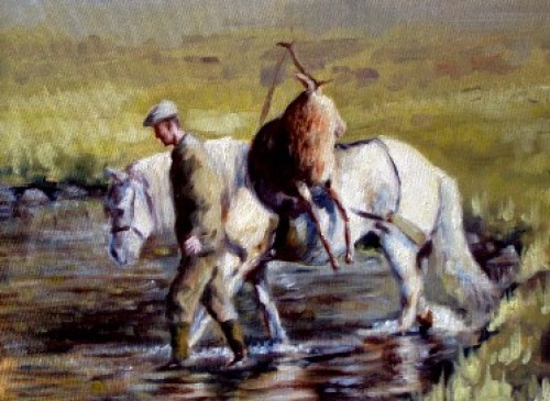 """""""Crossing the Burn, Balmoral"""" Oil on canvas, 30 x 24 inches, Signed"""