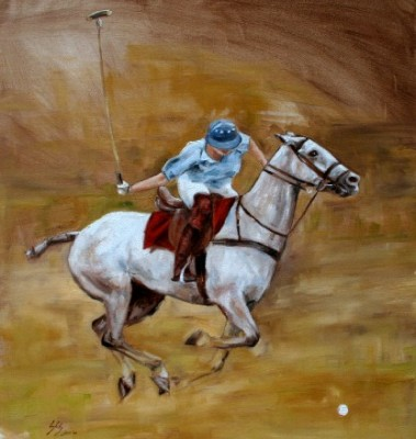 """""""The Perfect Shot"""" Oil on canvas, 34 x 30 inches, Signed"""