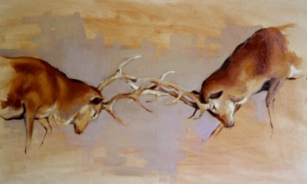 """""""Fighting Stags"""" Oil on canvas, 16 x 26 inches, Signed"""