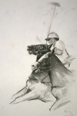 """""""Polo Sketch I"""" Charcoal on paper, Signed"""