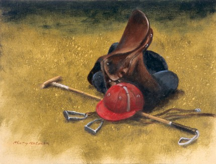 """Polo Kit Still Life"" 2012, Oil on canvas, 9.25 x 12.5 inches, 14 x 17 inches, Signed lower left"