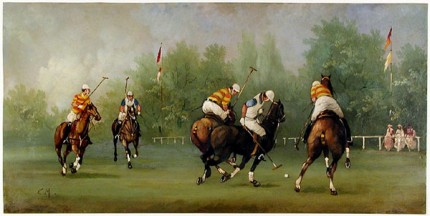 """Polo Scene VII"" Edwardian Polo Scenes (c. 1984) Oil on copper, 8 x 15.75 inches, 22k gold leaf frame with brown crackle sides: 10.5 x 18 inches, Signed"