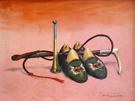 """Fox Hunter's Slipper"" 2014, Oil on canvas, 11.25 x 15.5 inches, 15 x 19 inches, Signed lower right"