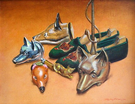 """Foxhead Facsimiles"" 2007, Oil on canvas, 10.25 x 13.25 inches, 14 x 17 inches, Signed lower right"