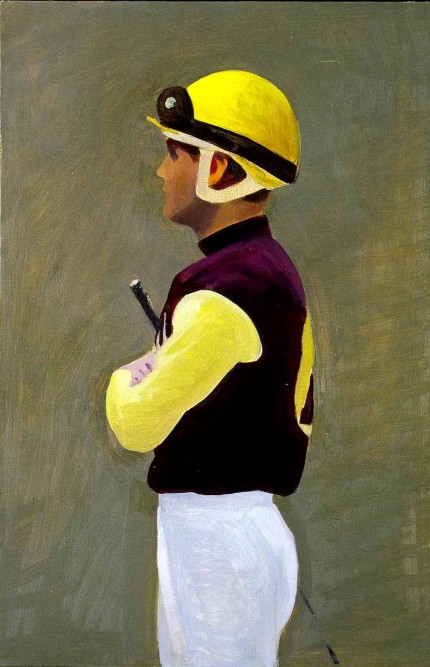"""Belmont Jockey facing left"" 2006, Oil on panel, 12 x 8 inches"