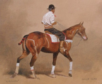 """""""El Petisero"""" (The Groom) Oil on paper, 12 x 14 inches, Signed"""