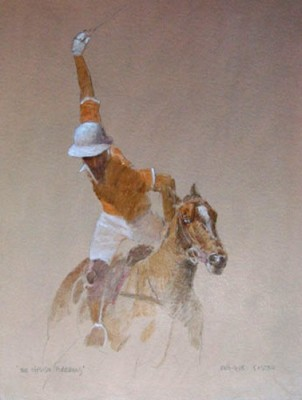 """Offside Forehand I"" Oil on paper, 16 x 12 inches, Signed"