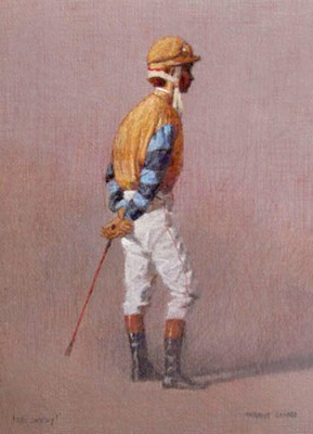 """""""The Jockey"""" Oil on paper, 16 x 12 inches, Signed"""