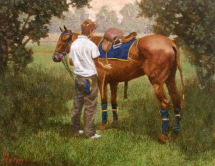 """The Pole Pony"" Oil on paper, 12 x 16 inches, Signed"