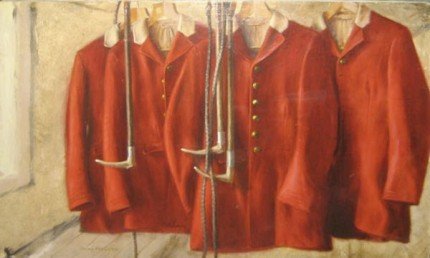 """Four Pytchley Hunting Coats"" 1983, Oil on canvas, 19.5 x 29 inches, Signed lower left 