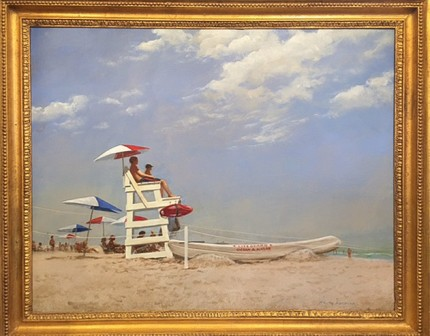 """Beach Club Life Guards"" 2013, Oil on canvas, 20 x 25 inches, Signed & Dated 