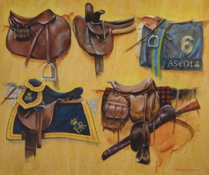 """Five Diverse Saddles"" 2009, Oil on canvas, 20 x 24 inches, Signed & Dated 