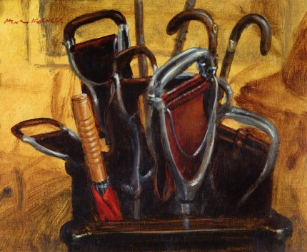 """Gun Room Stick Rack"" (painted at Anglesey Abbey near Newmarket), 2001, Oil on canvas on panel, 8 x 10 inches, Signed & Dated 