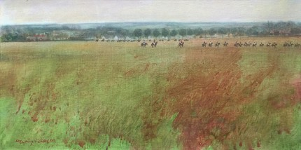 """Newmarket View"" 1969, Oil on canvas, 12 x 24 inches, Signed & Dated, recto and verso"