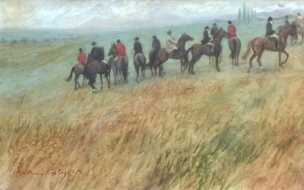 """Roman Hunt Checked"" 1968, Oil on canvas, 9 x 16 inches, Signed & Dated, recto and verso"