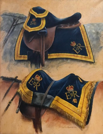 """Saddles & Saddle Blanket Covers with The Royal Monogram of H.R.H. Queen Elizabeth II of Great Britain"" 15 x 13 inches, Oil on canvas, Signed"