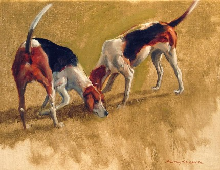 """Two Fox Hounds"" 2003, Oil on canvas laid down on panel, 11 x 14 inches, 14.5 x 17.25 inches, Signed lower right, Titled & Dated 2003 on the reverse, Exhibited: New York, W.M. Brady & Co., Inc 