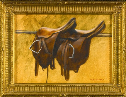 """Two Polo Saddles"" 1981, Oil on paper laid down on masonite, 11 x 13.5 inches, Signed"