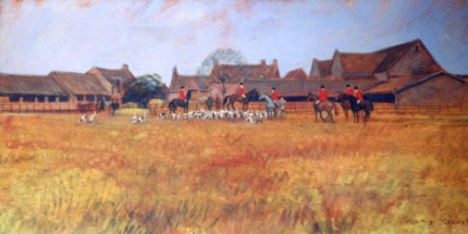 """Meet of the Hounds"" 1973, Oil on canvas, 12 x 24 inches, Signed lower right"