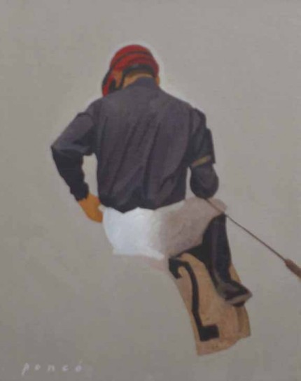 """Jockey #2"" 2006, Oil on canvas, 14 x 11 inches, Signed lower left"