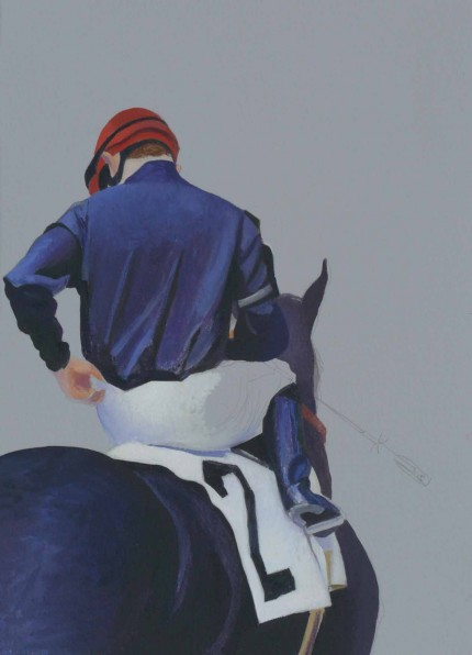 """Jockey #2"" 2007, Oil on paper, 14 x 10 inches"