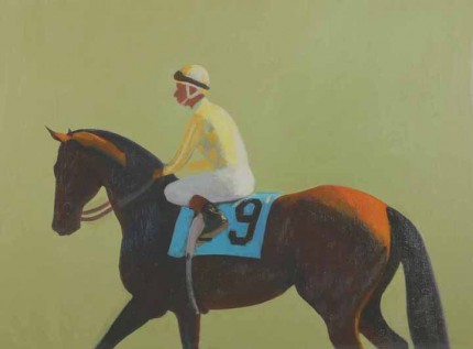 """Jockey Up"" 2006, Oil on linen on panel, 12 x 16 inches"