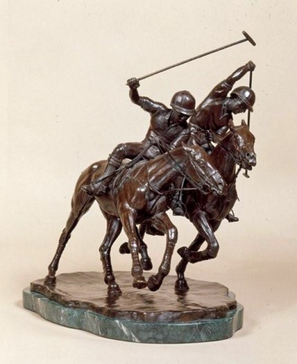 """Ride Off"" 1999, Bronze, Edition: 1/9, 12 x 10 x 9 inches, Base: 12.2 x 9 inches, Weight: 6kg"
