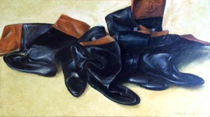 """Jumble of Jockey Boots"" 1993, Oil on canvas, 15 x 27 inches, Signed & Dated"