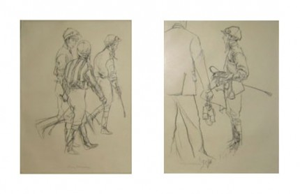 "A Pair ""Three Jockeys Walking & Post Race Analysis"" Charcoal on paper, 21 x 17 inches, Signed 