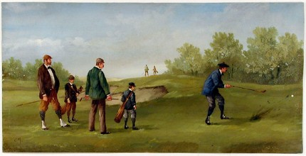 """Edwardian Golf I"" (circa 1990) Oil on copper, 8 x 15 ½ inches (including text), 22k gold leaf frame with brown crackle panel: 10 ½ x 18 inches"