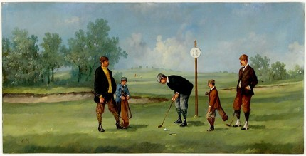 """Edwardian Golf II"" (circa 1990) Oil on copper, 8 x 15 ½ inches (including text), 22k gold leaf frame with brown crackle panel: 10 ½ x 18 inches"