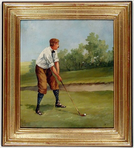"""Edwardian Golfer Portrait I"" (circa 1990) Oil on copper, 9 ½ x 8 ⅜ inches, 22k gold leaf frame with brown crackle sides: 12 x 10 ⅞ inches. This work bears the alternate signature of the artist: ""M.V."", which reflects the use of his middle initial."
