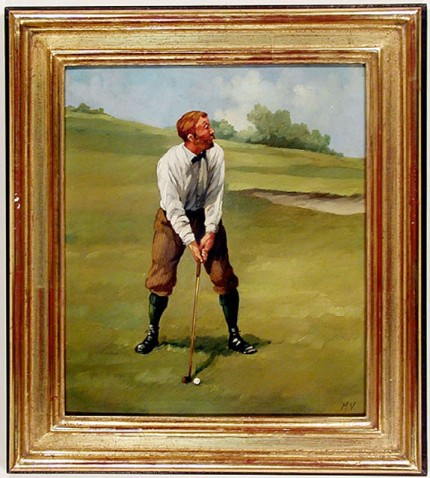 """Edwardian Golfer Portrait II"" (circa 1990) Oil on copper, 9 ½ x 8 ⅜ inches, 22k gold leaf frame with brown crackle sides: 12 x 10 ⅞ inches. This work bears the alternate signature of the artist: ""M.V."", which reflects the use of his middle initial."