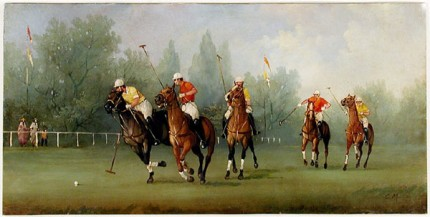 """Polo Scene IX"" Edwardian Polo Scenes (c. 1984) Oil on copper, 8 x 15.75 inches, 22k gold leaf frame with brown crackle sides: 10.5 x 18 inches, Signed"